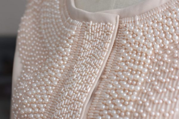 Beige graphical jacket with embroidery - siretdesign baltic design stories
