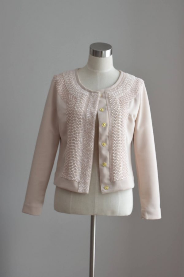 Beige graphical jacket with embroidery - siretdesign baltic design