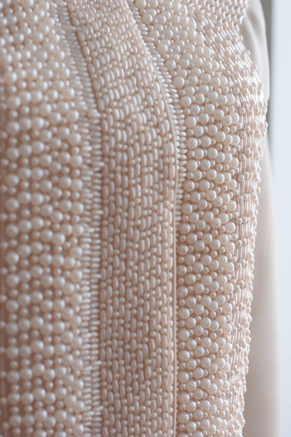 Beige graphical jacket with embroidery - siretdesign balticdesigner
