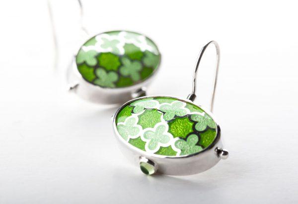 Silver_green_enamel_earrings_with_peridot-ENAMELI-1