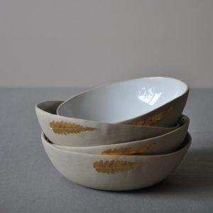 Stoneware bowl set GOLDEN FERN