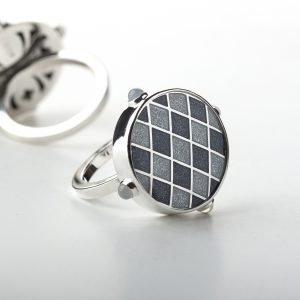 Enamel ring kletka grey 1 baltic design