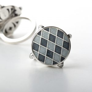 Enamel ring kletka grey 3 baltic design